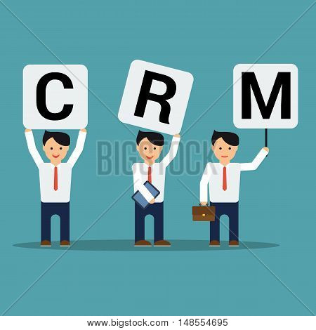Vector flat three happy businessmen set with CRM letters. One with tablet, other with briefcase on blue square background. Concept of customer relationship management