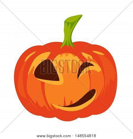 Vector isolated pumpkin. Halloween design emotion laughing smiling evil winking smile. Jack lantern for website flier invitation card sticker