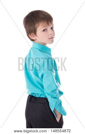 Portrait Of Cute Little Boy In Business Suit Isolated On White
