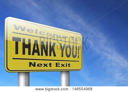 Thank you sign, many thanks for the support 3D, illustration