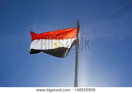 National Flag Of Egypt On A Flagpole