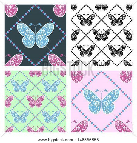 Set of seamless vector patterns with insects, symmetrical blue, pink, black and white backgrounds with butterflies. Decorative ornament. Series of Animals and Insects Seamless vector Patterns.