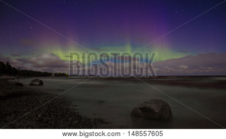 Northern Lights on Lake Ladoga, night sky over Ladoga, Leningrad, Russia