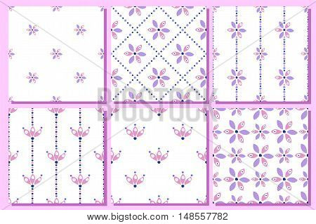 Set of seamless floral vector patterns. Ornamental backgrounds with flowers. Decorative repeating ornament, Series of Floral and Decorative Seamless vector Patterns.