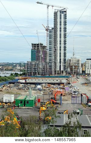 LONDON, ENGLAND - JULY 7, 2016: The Waterman - new development in the Lower Riverside district on Greenwich Peninsula part of a major regeneration programme of the area.