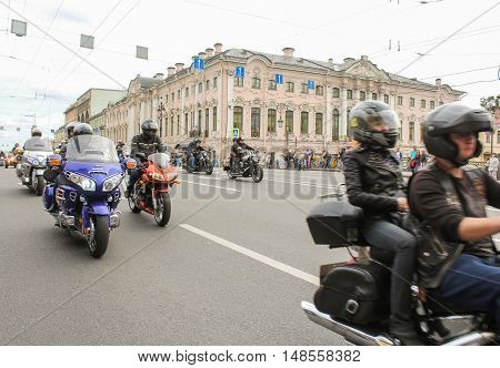 St. Petersburg, Russia - 13 August, Bikers traveling on Nevsky Prospect,13 August, 2016. The annual parade of Harley Davidson in the squares and streets of St. Petersburg.
