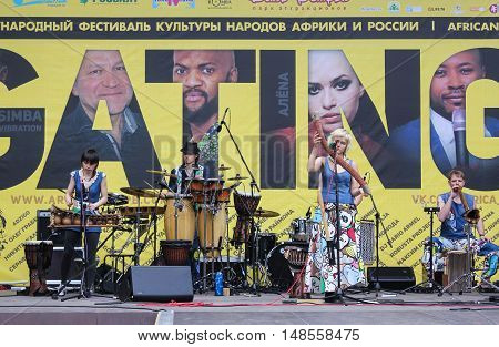 St. Petersburg, Russia - 13 August, Group of musicians with instruments,13 August, 2016. Africa and the Russian Culture Festival on Krestovsky Island in St. Petersburg.