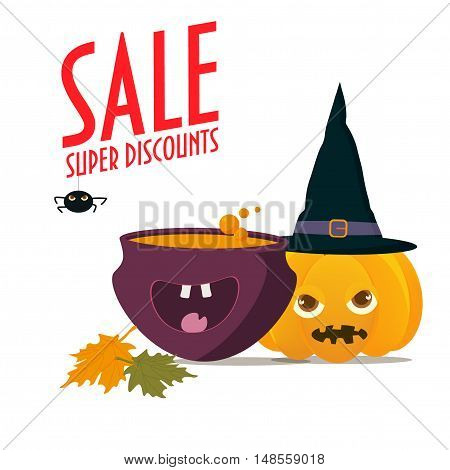 Halloween Sale Illustration. Pumpkin with witch hat on and happy witch pot. Typographic text