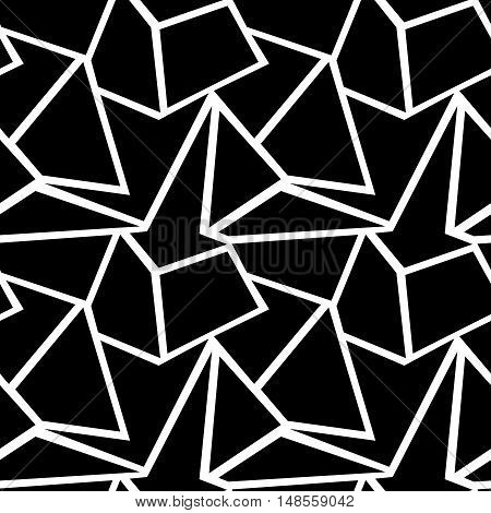 Seamless vector geometric pattern. Background with triangles in black and white colors. Graphic illustration.
