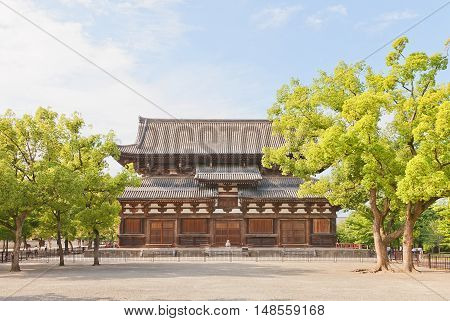 KYOTO JAPAN - JULY 23 2016: Kondo (Main) Hall (circa 1603) of Toji Temple in Kyoto. National Treasure of Japan and UNESCO site