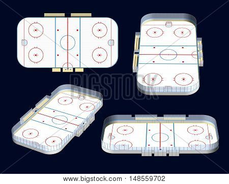 Ice hockey rink detailed 3D illustration four views isolated on dark background