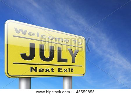July summer month of the year or event schedule or agenda road sign billboard 3D, illustration