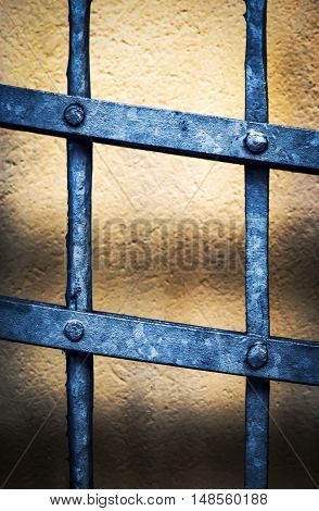 abstract background black forged iron grating with rivets