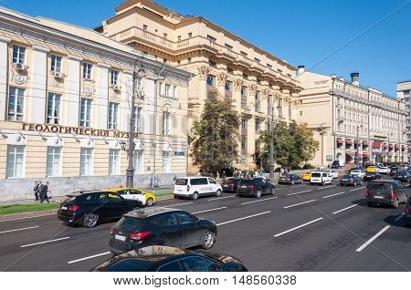 Moscow, Russia - October 02.2016. House ZHOLTOVSKOGO - a historic building, now Joint Stock Financial Corporation System