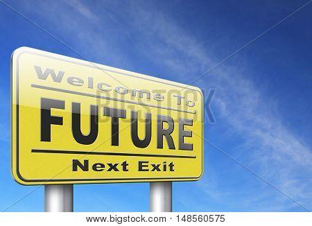 Future vision futuristic, road sign billboard.  3D, illustration