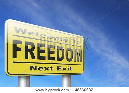 freedom peaceful free life without restrictions and peace democracy, road sign billboard. 3D, illustration