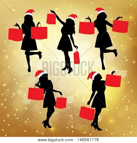 Silhouettes of christmas shopping women hoding their paperbag