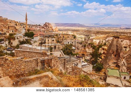 View on a amazing Uchisar village placed among rocky valleys  in Cappadocia area