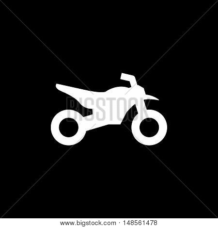 Motocross motorcycle icon isolated on black. Vector illustration