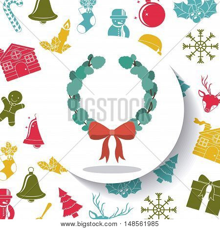 Leaves crown and bowtie inside circle icon. Merry Christmas season and decoration theme. Colorful design. Vector illustration