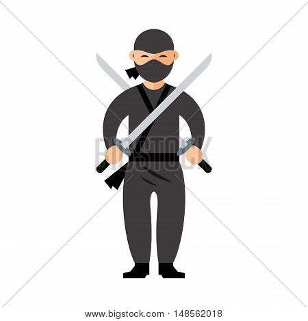 Warrior in black dress with two swords. Isolated on a White Background