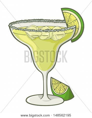 Glass of margarita cocktail illustration with lime slice.