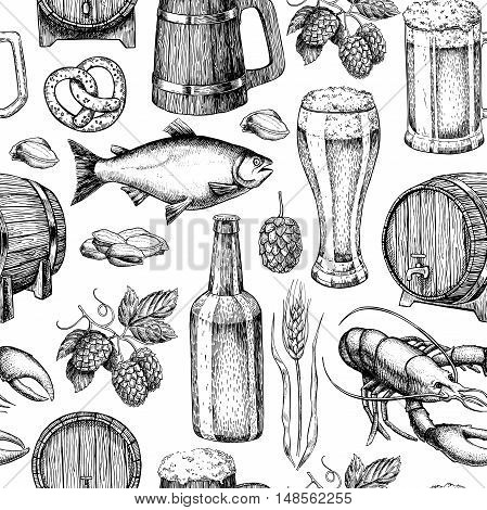 Beer vector seamless pattern. Alcohol beverage hand drawn background. Beer glass, mug, wooden mug, bottle, barrel, snack, hop, wheat, fish, crayfish. Great for bar, pub, menu, oktoberfest