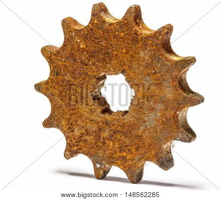 Closeup of metal cog gears Isolate on white background