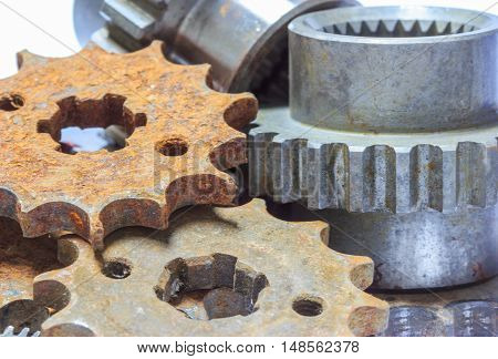 Closeup of metal cog gears on background