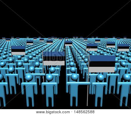 Crowd of abstract people with many Estonian flags 3d illustration