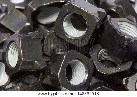 Special nut at line production automotive part.