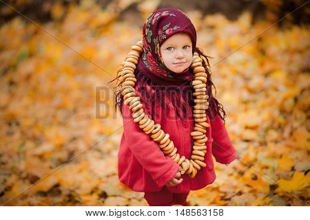 Child Girl In Ukrainian Folk Scarf