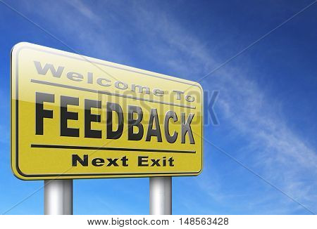 feedback or testimonials or comments for improvement and customer satisfaction 3D, illustration
