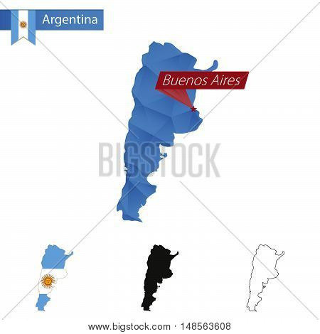 Argentina Blue Low Poly Map With Capital Buenos Aires.