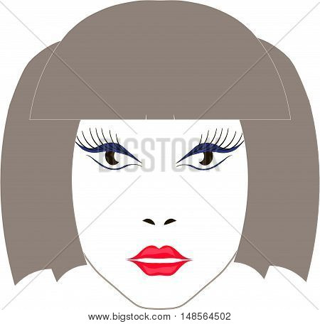 Beige sketch girl's face with red lips, vector illustration