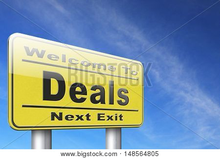 Deals great special sales offer road sign billboard.  3D, illustration
