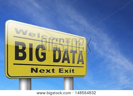 big data storage and analytics in the cloud or on external server 3D, illustration