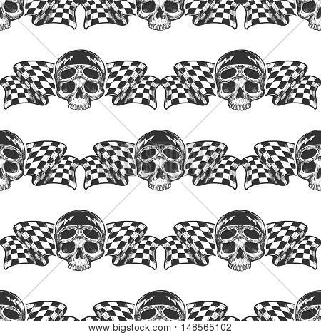 Seamless pattern with biker rider skull and racing flags. Vector illustration