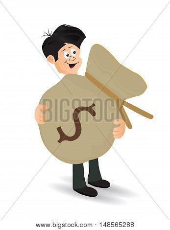 cartoon businessman carry big heavy money bag