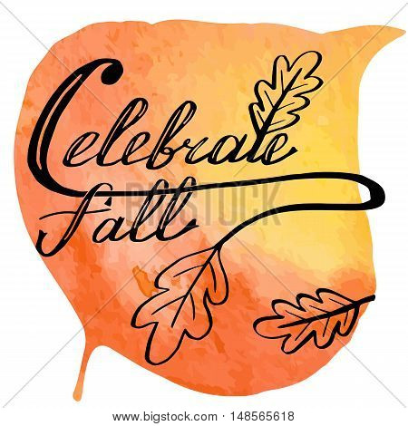 Hand written phrase Celebrate Fall on abstract hand painted watercolor texture in leaf. Colorful autumn foliage banner template with hand lettering isolated on white background. Vector illustration.