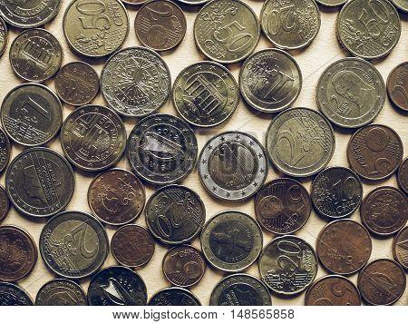 Vintage Euro Coins Background