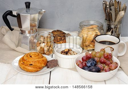 Breakfast With Biscuits, Chocolate, Fruit And Coffee Milk