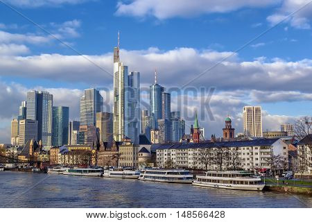 view of Frankfurt downtown from Main river Germany