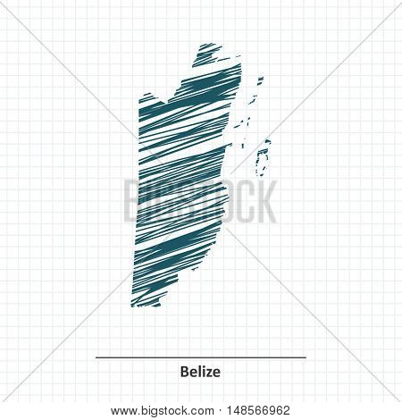 Doodle sketch of Belize map - vector illustration