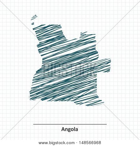 Doodle sketch of Angola map - vector illustration