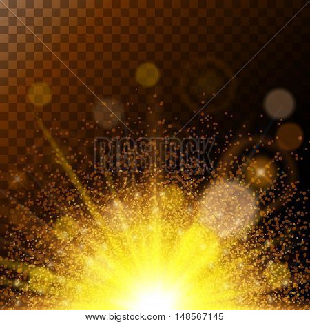 Realistic Sunlight Awesome vsechenie magical lights, gold dust on a brown background. Colorful and high-quality template. Vector illustration.