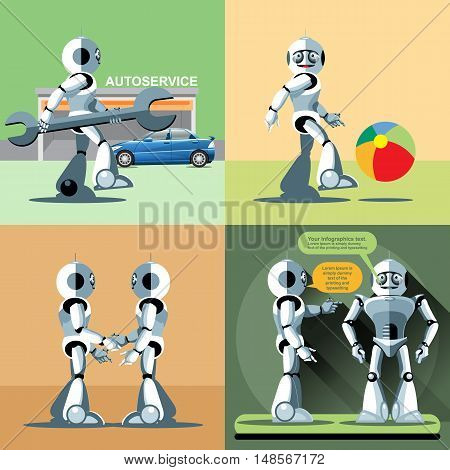 Digital vector silver happy robot set at autoservice, playing with ball, shaking hand and talking to another robot, flat style