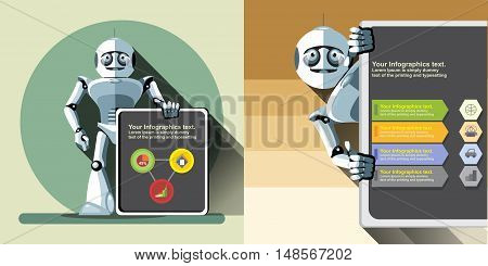 Digital vector silver happy robot presenting infographic with charts, flat style
