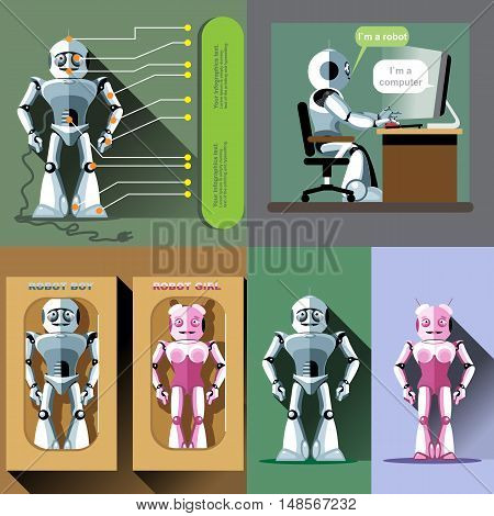 Digital vector silver and pink happy male and female robot set, working on computer, ready for sale in package, flat style