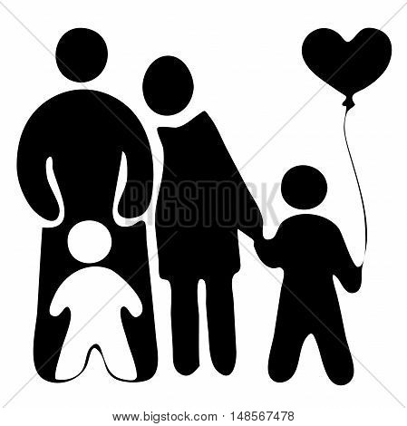 Family logo, childrens with baloon mother and father